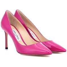 Jimmy Choo Romy 85 Patent Leather Pumps (29.755 RUB) ❤ liked on Polyvore featuring shoes, pumps, heels, pink, jimmy choo, pink heeled shoes, heel pump, pink pumps and jimmy choo pumps