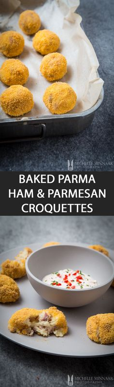 Baked Parma Ham & Parmesan Croquettes - {NEW RECIPE} Baked Parma Ham & Croquettes is a twist on Spanish jamon and manchego croquettes. Gourmet Recipes, Baking Recipes, Pork Recipes, Delicious Recipes, Recipies, Dinner Recipes, Healthy Recipes, Party Canapes, Parma Ham