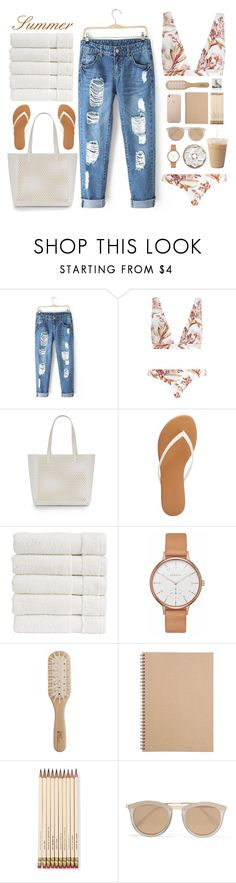 """Untitled #1"" by lisok ❤ liked on Polyvore featuring Zimmermann, Loeffler Randall, Charlotte Russe, Christy, Skagen, Philip Kingsley, Muji, Kate Spade, Polaroid and Le Specs"