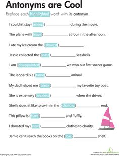 Education synonyms worksheet teaching ideas pinterest worksheets antonyms are cool m4hsunfo
