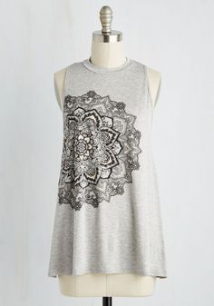 The day you debut this swingy tank top, you'll see street style starting to revolve around your taste! Starring a bursting flower screen print off-centered on its heather grey hue, this high-neckline top - an exclusive to ModCloth - shows delightful dominance over the powers that dictate panache.