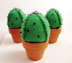 Miniature Felt Cactus Pincushion or Plushie Figurine by curiouspug