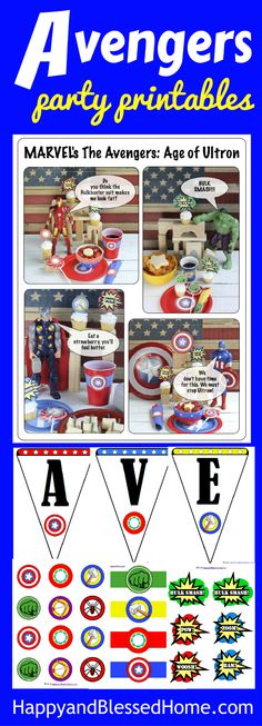 Avengers Party Printables free for a limited time - perfect for hosting your own Superhero themed party - So FUN! FREE Avengers Party Banner, cupcake toppers, plate and cup labels, pow stickers, napkin rings, and easy Avengers party recipe ideas. Great for a kid's birthday party or Avenger movie watch party. Wahoo!