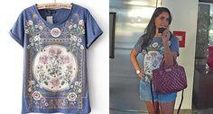 Look com camiseta vintage comprada no Aliexpress. Linda e de ótima qualidade. Maiores informações e link do vendedor no post. Confira!