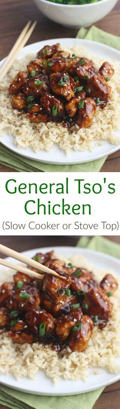 General Tso's Chicken (Slow Cooker or Stove Top) from Tastes Better From Scratch.  Better than takeout!!