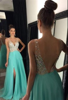 New Arrival Prom Dress,Ulass Prom Dress,sparkly crystal beaded v neck open back long chiffon prom dresses 2017 pageant evening gowns with leg slit - Thumbnail 3 Turquoise Prom Dresses, Sparkly Prom Dresses, Prom Dresses For Teens, Prom Dresses 2018, Beaded Prom Dress, Backless Prom Dresses, Modest Dresses, Dance Dresses, Formal Dresses