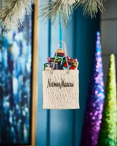 playful brights collection neiman marcus shopping bag ornament holiday decorchristmas - Neiman Marcus Christmas Decor