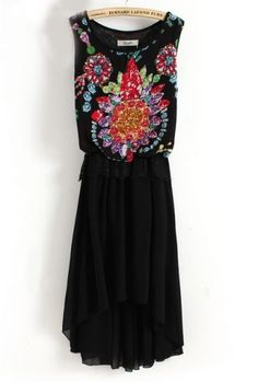 Black Sleeveless Gemstone Print Lace High Low Dress pictures