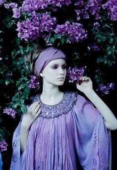 lilac fashion editorial portrait