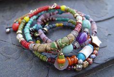 Boho Bangle Bracelet Set - African Trade Beads, Shell, Howlite, Sari Silk, Chima Clay Mummy Beads, Kitsch Metal