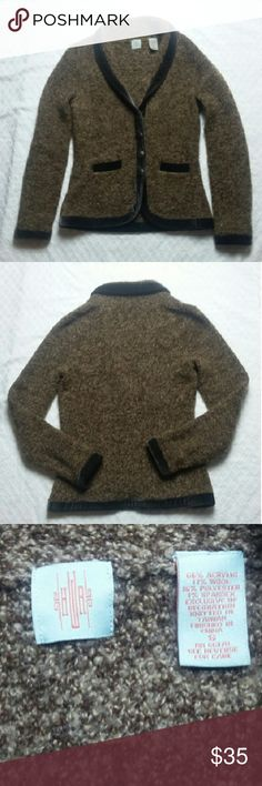 """Anthro HWR Monogram Boucle Sweater Jacket Beautiful brown boucle knit cardigan sweater. Size small. Good used condition - some peeling, as is expected with this type of knit.  66% acrylic, 17% wool, 16% polyester, 1% spandex  Bust: 34"""" Waist: 30: Length: 23"""" Sleeves: 24"""" Anthropologie Jackets & Coats"""