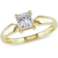 Miabella 1 Carat T. Princess Cut Diamond Solitaire Engagement Ring in Yellow Gold, Women's, Size: Metal Type 4 Cs Of Diamonds, Princess Cut Diamonds, Diamond Solitaire Rings, Solitaire Engagement, Diamond Candles, Thing 1, 1 Carat, Modern Jewelry, Fashion Rings