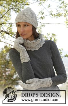 Drops 141-25, Set consist of: Crochet hat, neck warmer and mittens with fan pattern in Merino Extra Fine