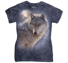 The Mountain Ladies Tee with Adventure Wolf design by Collin Bogle. This ring spun Cotton Tee will last you for years & features a flattering, feminine fit, and a comfortable scoop neck line. 3d T Shirts, Long Sleeve Tee Shirts, Cool Shirts, T Shirts For Women, Wolf T-shirt, Wolf Moon, Wolf Girl, Teen Wolf, Wolf Hoodie