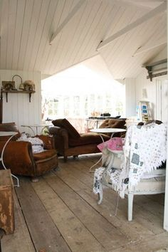A multi purpose annexe designed and made for a stylist/designer - also used as a spare room for guests. Use of reclaimed materials such as the doors and shutters (made in to a bank of fitted cupboards) My Spare Room, Foster House, Large Homes, Home Decor Trends, Apartment Living, Cottage Style, Small Spaces, Home Goods, Living Spaces