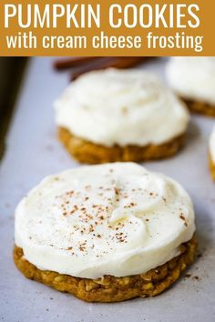 The Best soft and chewy pumpkin cookies with a sweet cream cheese frosting. This is the perfect frosted pumpkin cookie recipe! Pumpkin Cookie Recipe, Pumpkin Chocolate Chip Cookies, Pumpkin Recipes, Fall Recipes, Pumpkin Bars, Best Dessert Recipes, Fun Desserts, Delicious Desserts, Healthy Recipes