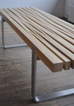 Cut and stretched coffee table. (source: The Design Walker): Coffee Tables Ideas Wooden Benches Stretch Coffee Design Walker Memorial Tables Furniture Woods Benches Gardens Benches Bench Furniture, Wooden Furniture, Cool Furniture, Furniture Design, Outdoor Furniture, Furniture Plans, System Furniture, Furniture Dolly, Furniture Online
