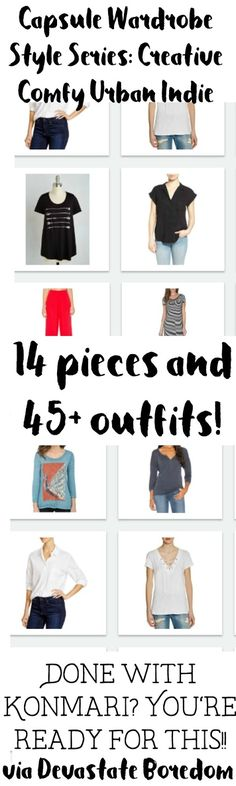 Love this style for a capsule wardrobe!  Inspiration for a COMFY and CREATIVE Urban Indie capsule wardrobe - 14 items mix-and-match to 45 outfits - minimalist closet ideas, via Devastate Boredom
