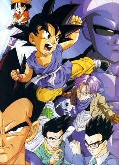 Goku, Vegeta, Gohan, Goten, Piccolo, Baby, Trunks, Giru, and Pan
