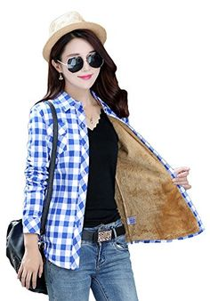 AvaCostume Womens Casual Fleece Winter Plaid Slim Shirt Blouse 889824 M * Read more  at the image link.