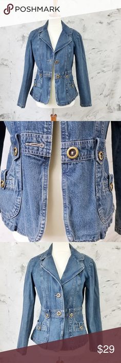 "Allison Brittney Denim Jean Jacket Vintage 90's Safari Style Allison Brittney Size 6 Denim Jean Jacket 100% Cotton In great condition, gently worn if at all. Buttons in tact.  Bust 34"" Waist 29"" Length 24"" Sleeve 24""  DISCLAIMER: This is a second hand vintage item and so being may come with some stains, wear or undetected defects. I have tried to describe and photograph each item so as to best represent the product. Additional pictures available upon request. Allison Brittney Jackets & Coats…"
