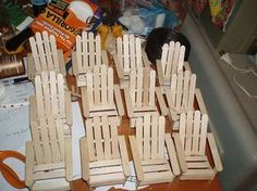 Mini popsicle stick Adirondack chairs
