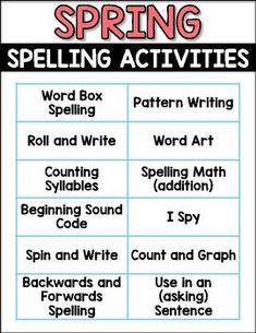 Spring Spelling Acti