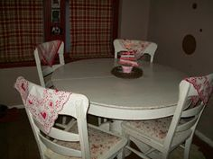 Add a Valentines Day hankie over your dining room or kitchen chair! Cute and easy Valentine's Day Decor idea.