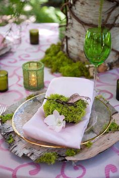 "Naturalistic place setting with bark and moss.  Moss from mossacres.com - see ""Starter Pack""."