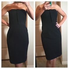 Ann Taylor Strapless Dress Perfect condition dress! Very thick but also has some stretch. Zipper back and also has hooks to add straps. 28 inches long. Busy is 14 inches waist is 13 inches. One day shipping. No trades in the holds. 20% off of bundles. Ann Taylor Dresses Mini