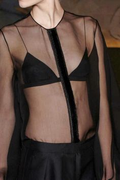 Black Sheer Shirt with minimal round neck, worn with a chic triangle bra; transparent fashion details // The Row Fall 2012