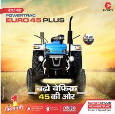 Powertrac Euro 45 Plus में है 3 Cylinder और 47 HP का Engine. और साथ में है 1600 kg. की Lifting Capacity. .#Tractorjunction #loan #price #Specifications #Agriculture #Powertrac Tractor Price, New Tractor, Jallianwala Bagh Massacre, John Deere Tractors, Outdoor Power Equipment, Euro, Monster Trucks, India, Vehicles