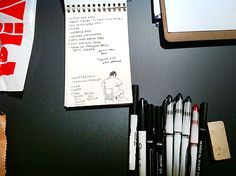pens and a notebook