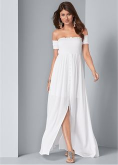SMOCKED DETAIL MAXI DRESS White Maxi Dresses, Floral Maxi Dress, Casual Dresses, Formal Dresses, Dress Lace, Lovely Dresses, Party Dresses, Formal Dress Shops, Classy Women