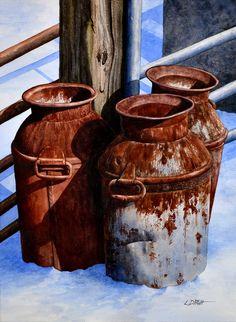 Lynn D Pratt Watercolor Paintings Painting Still Life, Still Life Art, Old Milk Cans, Watercolor Techniques, Love Art, Painting Inspiration, Watercolor Paintings, Watercolors, Painting & Drawing