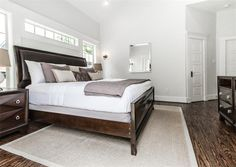 Master bedroom-love the thin window above the bed for extra light!