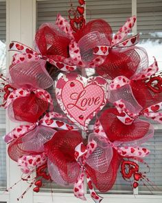 LOVE   XL Chic Valentine  Wreath  by DecorClassicFlorals on Etsy, $139.95