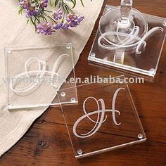 Initial Monogram Wholesale Glass Coaster - Buy Wholesale Glass Coaster,Wholesale…