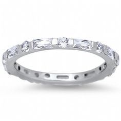 Noelle's .925 Sterling Silver Emerald Cut & Round Cut CZ Eternity Ring - Only $35.95 — Fantasy Jewelry Box