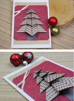 Mit Origami-Papier tollen Tannenbaum für Weihnachtskarte falten! https://www.deindiy.de/weihnachtskarten-selber-basteln/ #deindiy #weihnachtskarte #basteln