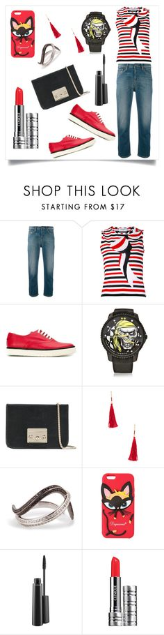 """Knitted Blouse With Cropped Jeans..**"" by yagna ❤ liked on Polyvore featuring Armani Jeans, Thom Browne, Hermès, Tendence, Furla, Shashi, Nikos Koulis, Dsquared2, MAC Cosmetics and Clinique"
