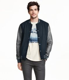Baseball jacket in a felted wool blend with leather sleeves. Ribbed stand-up collar, snap fasteners at front, side pockets, and one inner pocket. Ribbing at cuffs and hem. Lined. | H&M For Men