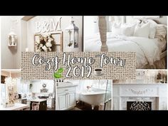Welcome to my channel! Today I will take you on a cozy tour throughout our home. Decorating after Christmas and between spring can be a little tricky. White Cottage, Cottage Farmhouse, Farmhouse Style, Anew Gray, Simply Shabby Chic, Diy Candle Holders, French Country House, White Bedding, Cozy House