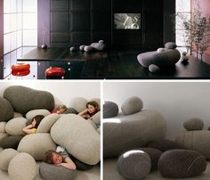 Stone rock cushions | The idea is not just make a couch, beanbag or pillow, but that you can scatter around in-between sizes to fit the nooks and crannies around these core pieces.
