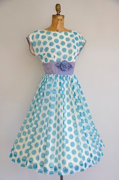 vintage 1950s chiffon polka dot dress