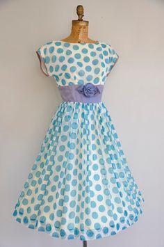 vintage 1950s chiffon polka dot dress