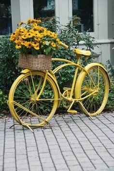 Велосипед в саду.