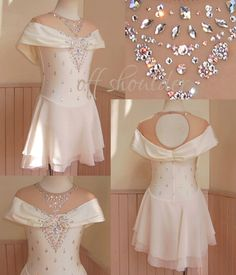 プリンセスドレスのようなオフショルダー。優しいアイボリー色がデザインとマッチしています。スカートが長ければ そのまま花嫁衣裳になりそうです。