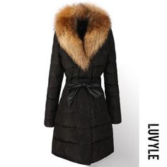 #Luvyle - #Luvyle Detachable Faux Fur Collar Drawstring Plain Quilted Padded Coat - AdoreWe.com