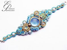 Editgyöngyei: január 2017 Soutache Bracelet, Soutache Jewelry, Shibori, Turquoise Bracelet, Ribbon, Zen, Jewellery, Sewing, Bangles
